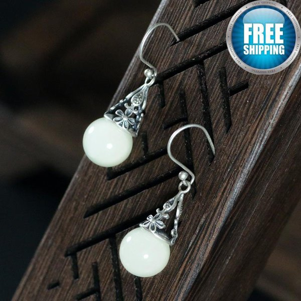 Pure Hollow Decorative Natural Hotan Jade Ball Nation Wind Temperament Grace Earring Galaxy 925 Sterling Silver Anchor Earrings