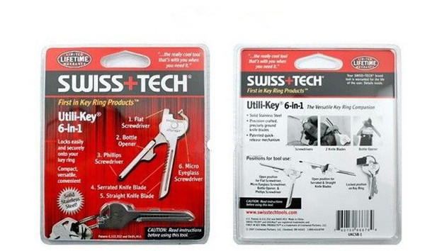 SWISS+TECH 6 in 1 Utili-key Mini Multi Function Keyring Flat Screwdriver Bottle Opener Phillips Screwdriver Pocket Knife EDC Tool