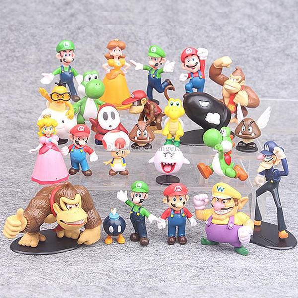 22Pcs/Set 3-7cm Super Mario Bros PVC Action figures Toys Yoshi Peach Princess Luigi Shy Guy Odyssey Donkey Kong Model Dolls L182