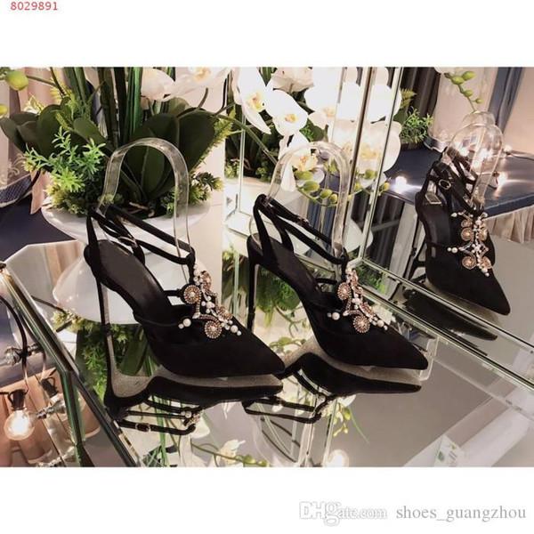 Scarpe col tacco alto donna Gemma di seta Gemma di diamante Fine con i tacchi a spillo Sandali Baotou in pizzo partito socialite