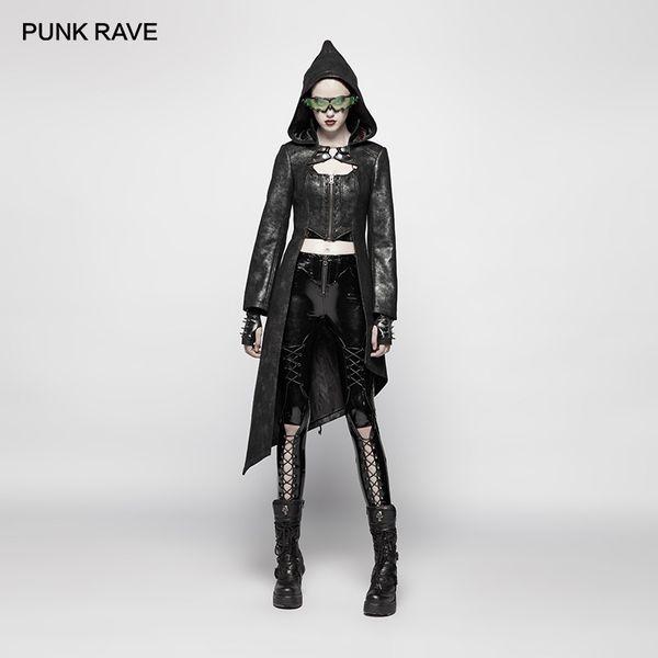 PUNK RAVE Mulheres Punk Jaquetas e casacos Asymmetric Hem Rivet Decoração Jacket Personalidade Bonito Jacket Bomber Mulheres Coats