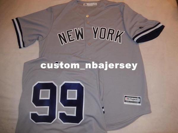 AARON encargo baratos JUEZ # 99 bajo fresco Jersey de béisbol cosido GRIS Personalizar cualquier número nombre HOMBRE MUJER JERSEY DE BÉISBOL XS-5XL