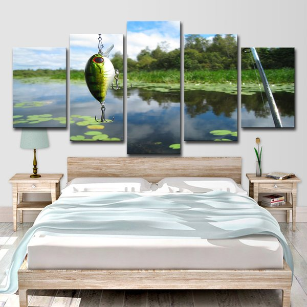 HD Printed 5 Piece Canvas Art Fishing Rod Painting Fish Pond Poster Wall Pictures for Living Room Modern Free Shipping