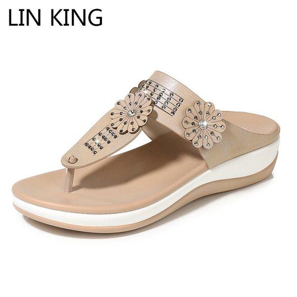 LIN KING Top Qualité Femmes Pantoufles En Cuir Tongs Filles Coins Été Plateforme Diapositives De Mode Floral Non Slip Beach Chaussures