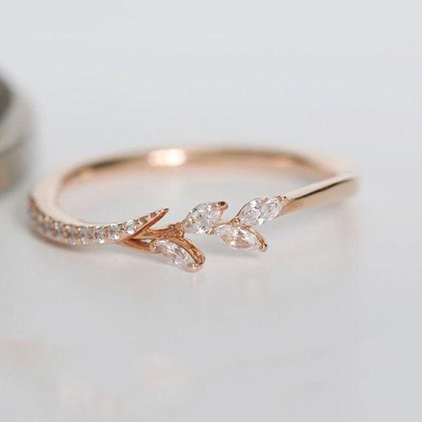 Delicada Diny hojas de olivo anillos para las mujeres de color oro rosa con incrustaciones de circón anillos de boda joyería de promesa de pareja Anillos Mujer