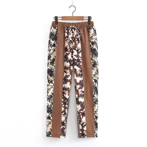 Impresso Calças Soltas Mulheres Moda Longo Largo Perna Calças Mulheres Elegante Cinto De Laço Elástico Na Cintura Calças Femininas Senhoras EU02