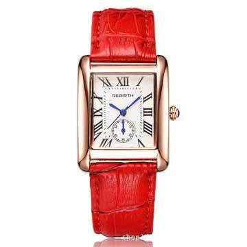 Mann Damenmode Leder Armbanduhr Damen Kleid Quadrat Zifferblatt Uhr Weibliche Männliche Liebhaber Uhr-B020