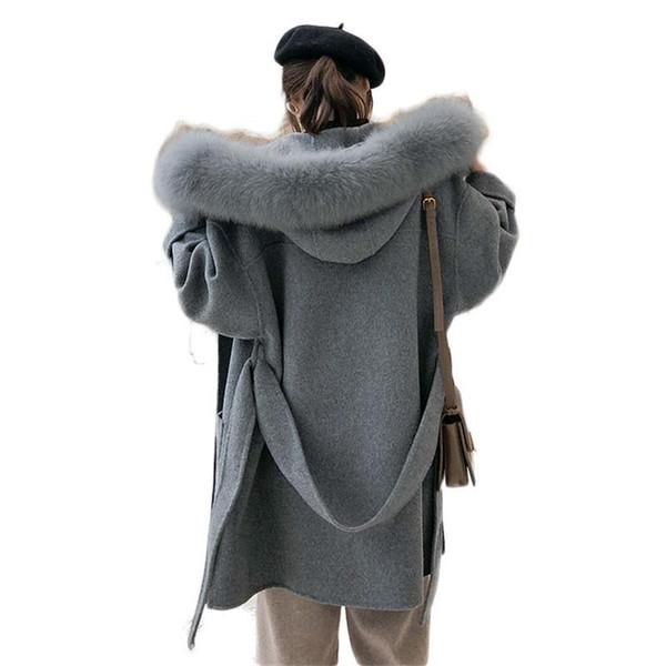 2019 Neue Winter Frauen Doppelseitige Wollmantel Weibliche Natürliche Lammwolle Kaschmirjacke Echten Fox Pelzkragen Mit Kapuze Mäntel X38