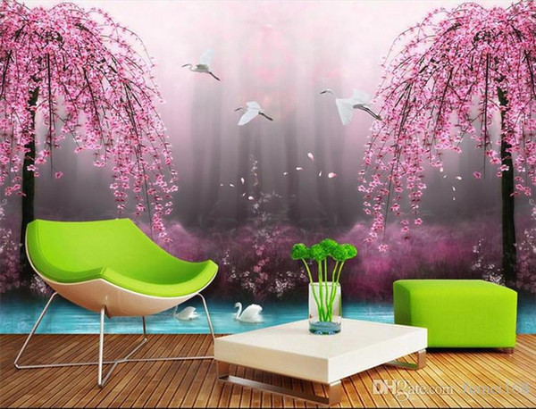 Custom size Natural red peach flower mural for sofa background wall 3d bedroom bed 3d mural wallpaper 3d wall photo mural