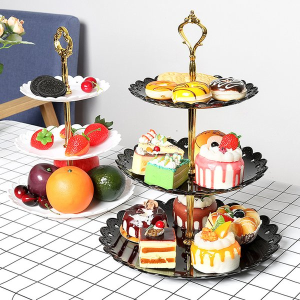 3 Tier Plastic Cake Stand Holder Afternoon Tea Dessert Fruit Tier Stand Wedding Plate Party Three Layer Cake Rack Bakeware Supply RRA2599