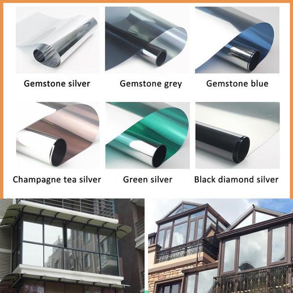 50 cm x 2 m wasserdichte Fensterfolie Einwegspiegel Silber Isolierung Aufkleber UV-Abweisung Datenschutz Windom Tönungsfolien Home Decoration