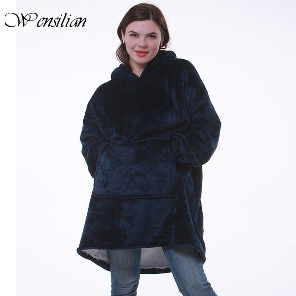 top popular Blanket with Sleeves Women Oversized Hoodie Fleece Warm Hoodies Sweatshirts Giant TV Blanket Women Hoody Robe Casaco Feminino Y200706 2021