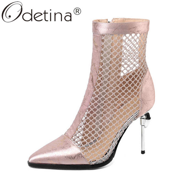 odetina women new breathable crystal pointed toe ankle boots ladies stiletto extreme high heel side zipper air mesh short boots