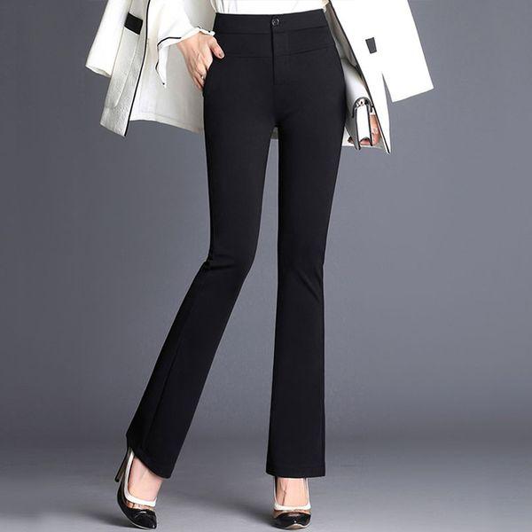 Women's Office Lady Work Long Flare Pants Solid High Waist Plus Size Woman Trousers 2019 Spring Elegant Slim Formal Female Pants Y190430