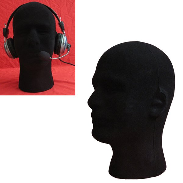 2018 NEW 1PCS Male Styrofoam Foam Flocking Head Model Wig Glasses Display Stand Black Manikin Head hair dropshipping