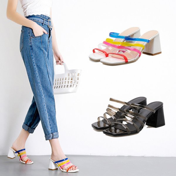 Pretty2019 Cool Other Clothes Coarse With Spelling Color Sandals Ban Tuo One Word Slipper Woman Summer