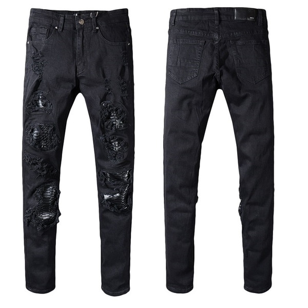 Mens Jeans Designer Skinny Distressed Black Rip Jeans Pants Slim Denim Man Motorcycle Biker Hip Hop Jeans 2019