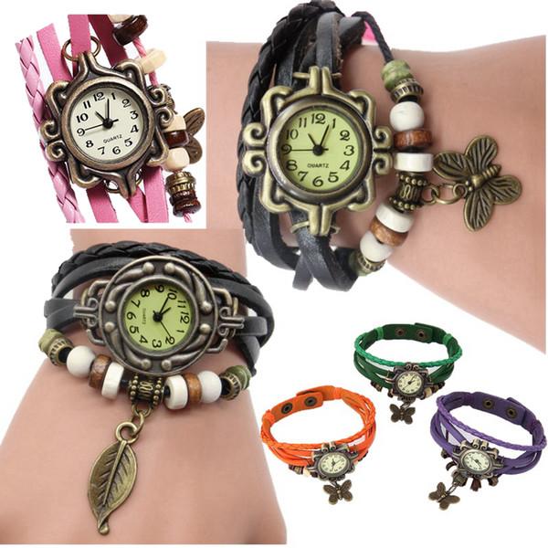 Fashion women ladies retro butterfly leaf pendant leather bracelet watches Roman Style Knit ladies casual dress quartz watches