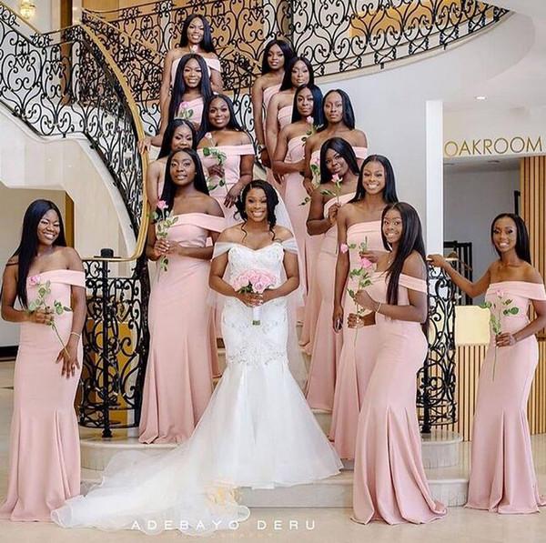 arrossire rosa con spalle scoperte abiti da damigella d'onore sirena 2019 arabo africano abiti da cerimonia nuziale convenzionale abito da ballo abito su misura economico su misura