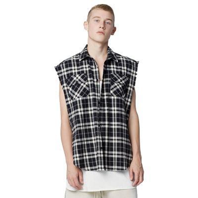 Avrupa moda gelgit marka yeni 2019 hip hop ekose gömlek erkekler retro pamuk fermuar yelek erkek gömlek çok renkler erkek ekose giyim