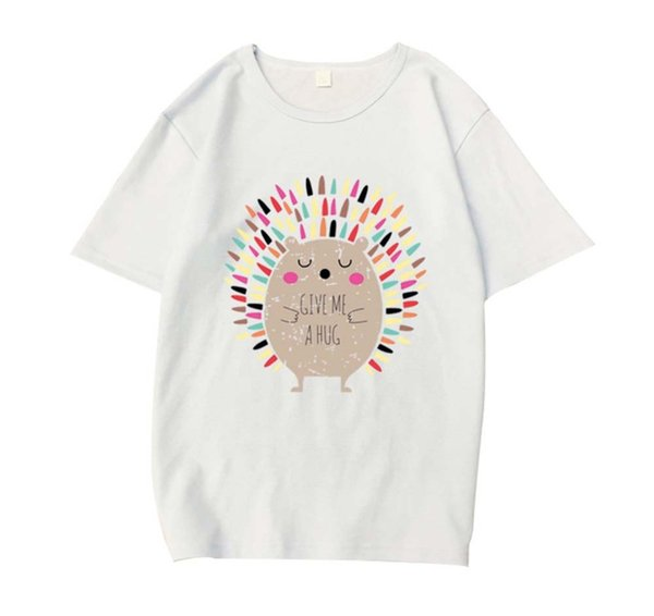 Zebery 2019 Fashion t shirt Women Cute Cartoon Hedgehog Print Round Neck Tops Feminist Tee Harajuku tshirt Summer Tops