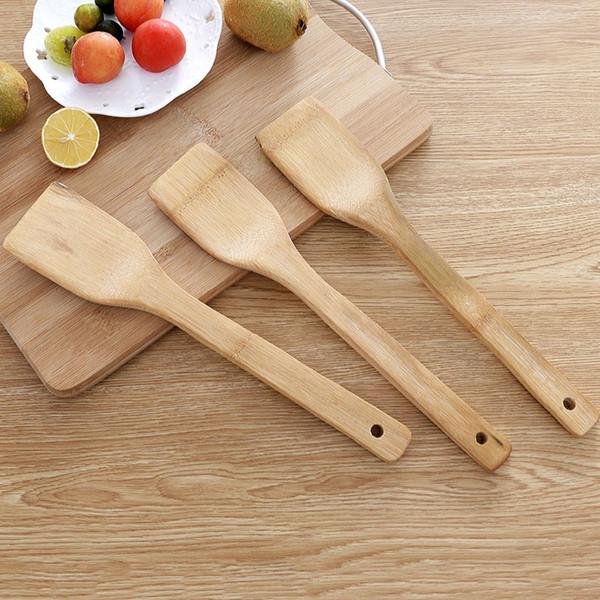 Küche Bambus Schaufel Natural Health Slotted Spatel Löffel Kochutensilien Abendessen Lebensmittel Wok Schaufeln Langstiel Antihaft-Schaufeln BH2290 TQQ