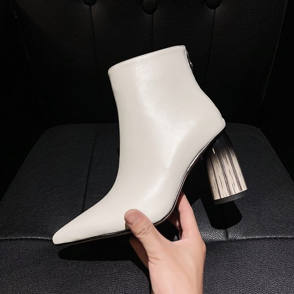 handmade women pointed toe boots white patent leather short autumn booties chunky high heels bota mujer black zapatos