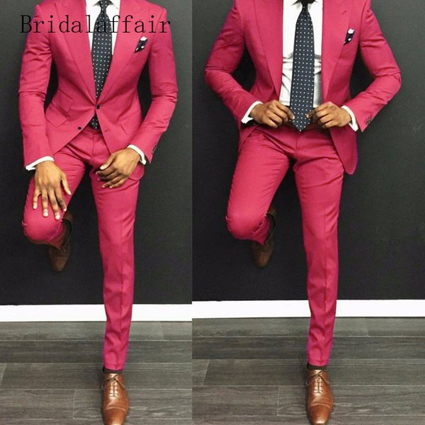 Handsome Groomsmen Peak Lapel Groom Tuxedos Hot Pink Men Suits Wedding/Prom/Dinner Best Man Blazer ( Jacket+Pants+Tie ) A939