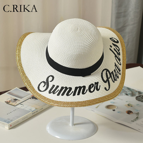 2019 Spring Summer Letter Sun Hat for Women Beach Hat Sun Visor Girls Vintage Straw Hats Stylish Hats Women White Casual Panama