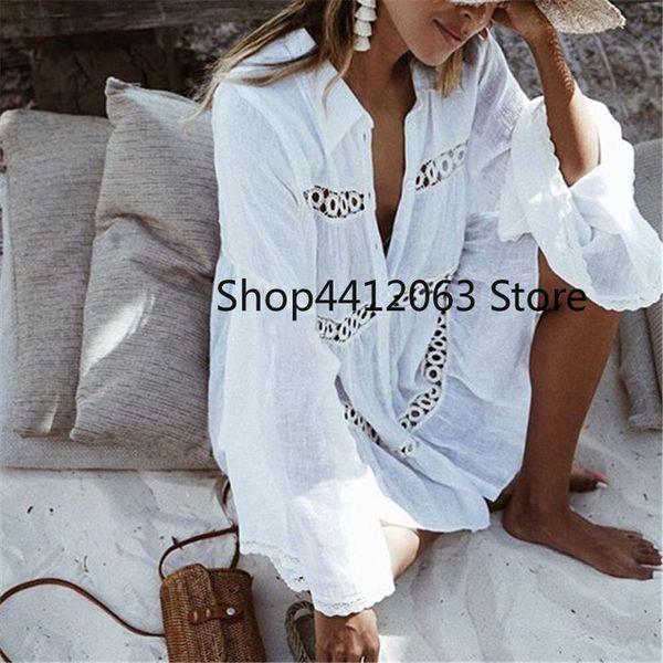 women swimsuit cover ups mandarin sleeve kaftan beach tunic dress robe de plage solid white cotton pareo beach cover up