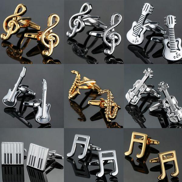 Бесплатная доставка 19 конструкций гитара запонки музыкальный дизайн музыкальная нота запонки фортепианный бас