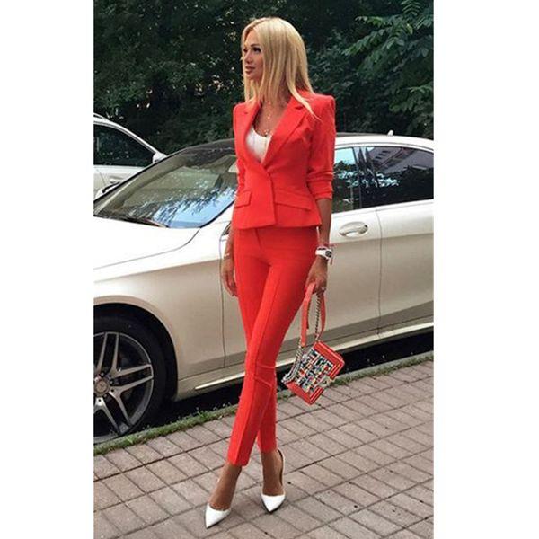 Popular new single buckle solid color ladies suit two-piece suit (jacket + pants) ladies business formal wear custom