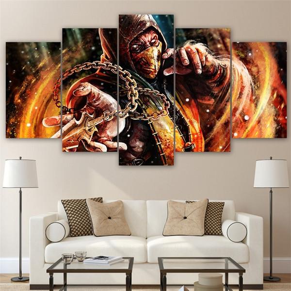 Mortal Kombat -2,5 Pieces Canvas Prints Wall Art Oil Painting Home Decor (Unframed/Framed)