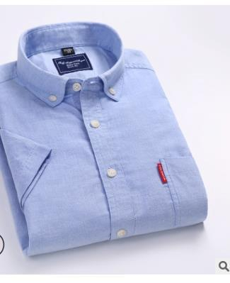 2019 Oxford shirt men's short sleeve cotton solid color summer youth leisure students slim han edition fashion inch shirt new style