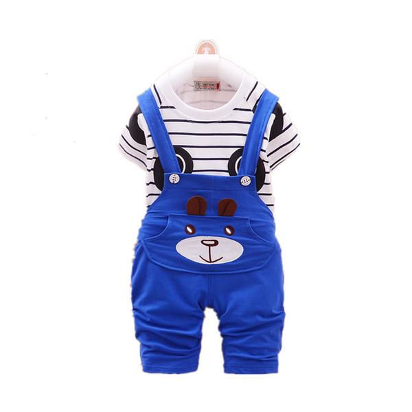 2019 New Summer Children Baby Boys Clothing Sets Panda Cartoon Cute Clothes Kids Bib Sleeve T Shirt Strap Shorts 2PCS suit