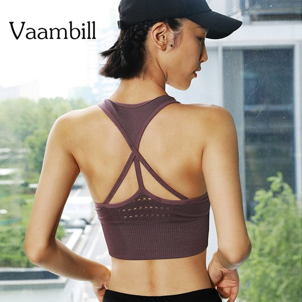 Double Layer Workout Impact Strappy Energy Seamless Gym Sports Bra Cropped Fitness Backless Top Hollow Back Sport Tops Active