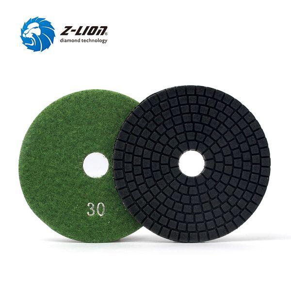 best selling Z-LION 5pcs 4inch Diamond Polishing Pads Grit 30 Wet Polishing Pad Stone Granite Marble Diamond Abrasive Tools