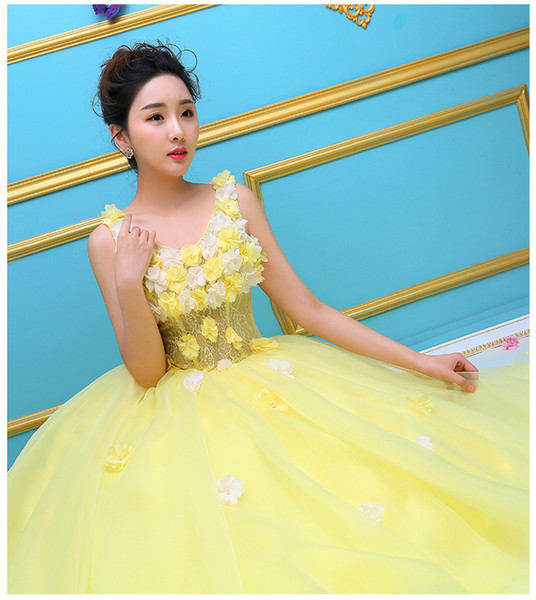 100% echte hellgelbe Blumen Ballkleid Königin Kleid mittelalterlichen Kleid Renaissance Kleid Royal Victorian Kleid / Prinzessin Cosplay Ball