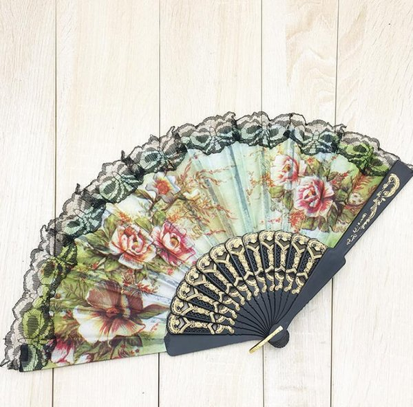 Floral Folding Hand Fan Flowers Pattern Lace Fan For Wedding Dancing Church Party Gifts Party Favor Craft Spanish Flower Fans 222