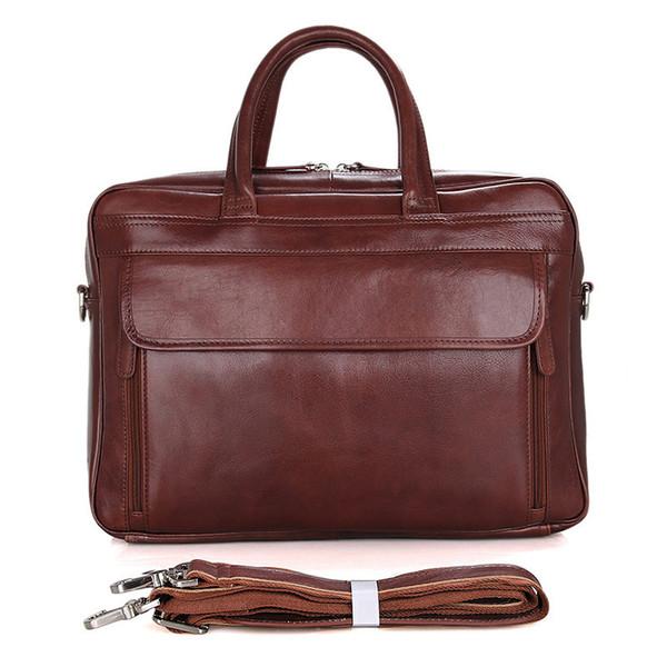 "15"" Man Briefcases Brown Laptop File Bags Cow Leather Men Travel Business Brand Vintage Fashion Big Large Capacity Shoulder Bags"