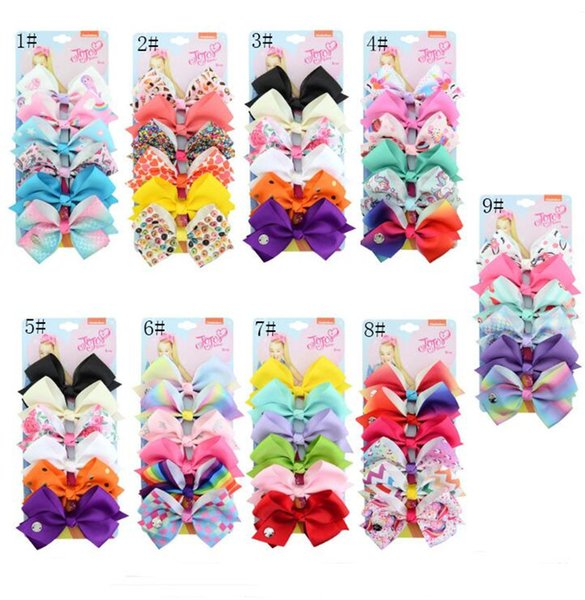 6pcs/lot Jojo Bows Hairpin for Baby Girls 5inch Swia Style Rainbow Unicorn Heart Print Hairpins Children Bowknot Hair Clip Hair Accessory