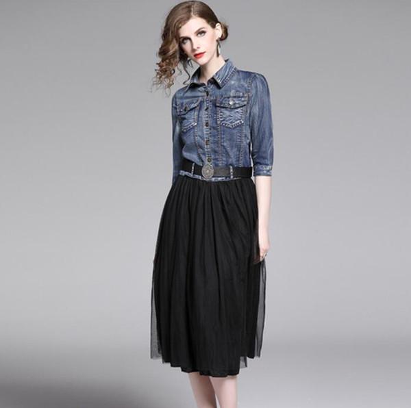 Denim col rond pull robe 2019 femmes occasionnels occasionnels slim bouton revers revers jupe jupe mini t-shirt denim