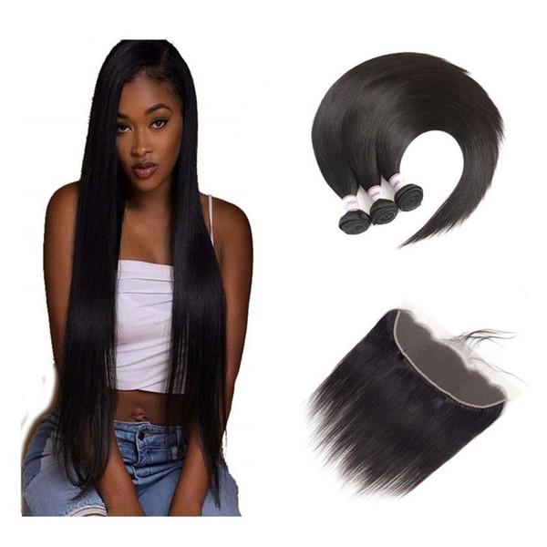 8A Реми бразильские девственные пучки волос с закрытиями 13x4 уха до уха кружева фронтальное закрытие прямой объемной волны глубокие вьющиеся наращивание человеческих волос