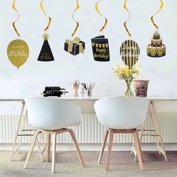 Acheter Décorations De Fête D Anniversaire Adulte Diy Bon Anniversaire Plafond Suspendu Swirl Creative Noir Or Guirlande Bannière Décoration