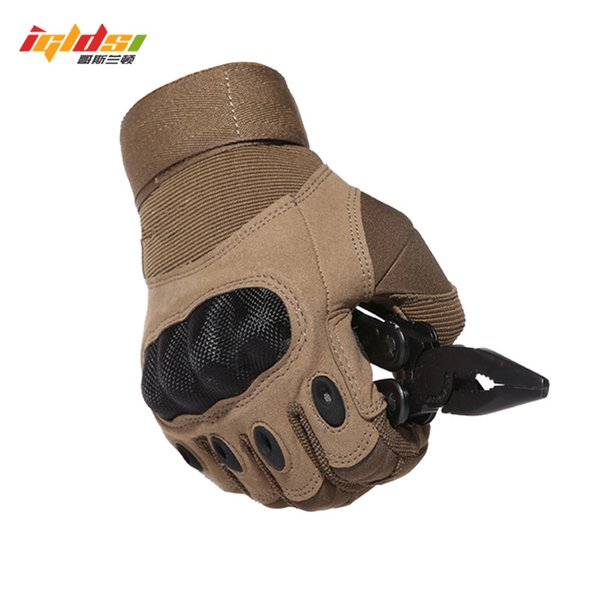 IGLDSI Tactical Army Paintball Shooting Gloves Full Finger Men's Gloves Armor Protection Shell S-3XL