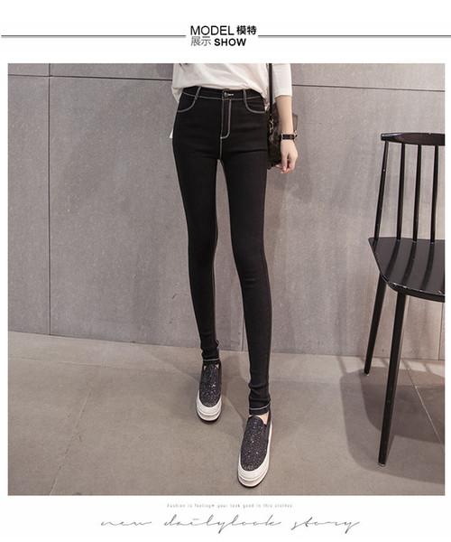 2019 весна и осень леггинсы носить маленькие черные брюки тонкий раздел большой размер брюки универсальный ноги карандаш брюки S-3XL