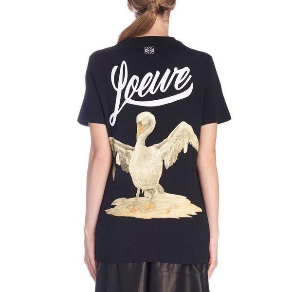 19SS Yeni Loewe Klasik Kuğu Baskı T-shirt Yaz Avrupa T Gömlek Karikatür Genç Kısa Kollu Moda Casual Erkek Kadın Tee HFYMTX421