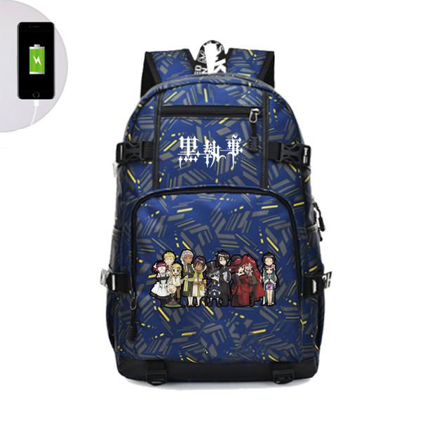 Großhandel Black Butler Ciel Sebastian Reiserucksack Anime Reiserucksack USB Lade Laptop Frauen Umhängetaschen Rugzak Von Misix, $43.43 Auf