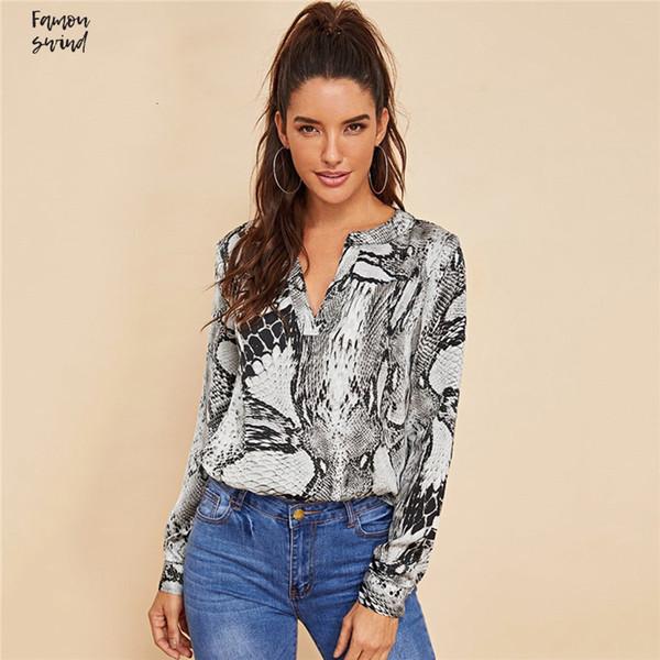 Grau beiläufige V Blusen Cut Hals Snake Skin Top Office Langarm Herbst und Arbeitskleidung Shirt Frauen Tops und
