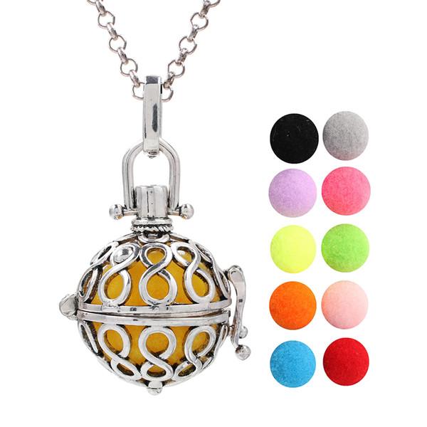 Antique Silver Infinito Medalhão Óleo Essencial Aromaterapia Perfume Pingente de Anjo Bola Mexicana Chime Bola Difusor Bola Colar Com Charme